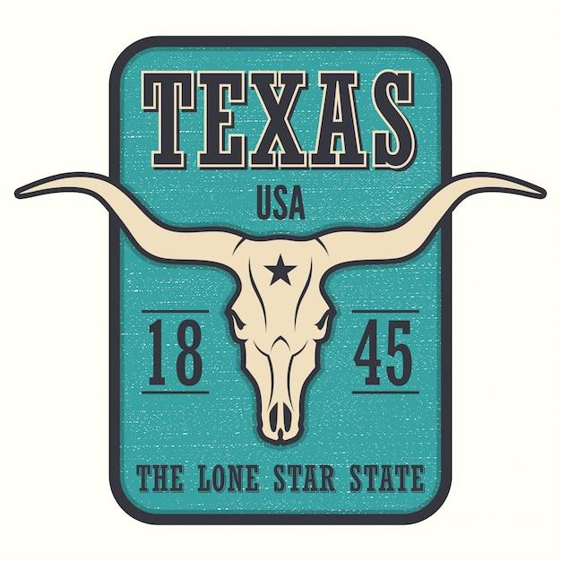 T-shirt con stampa texas state e teschio di longhorn. Vettore Premium