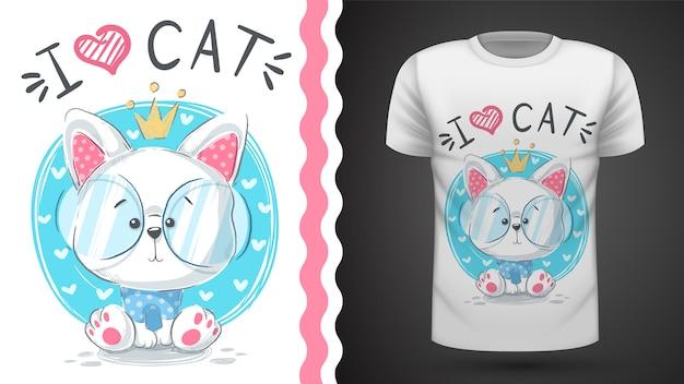 T-shirt da gatto di principi carini Vettore Premium
