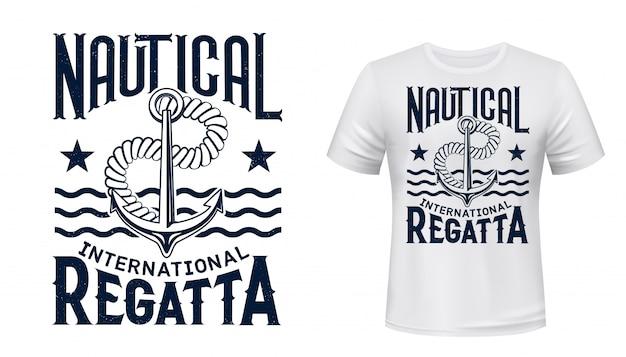T-shirt da regata yachting stampata con ancora Vettore Premium
