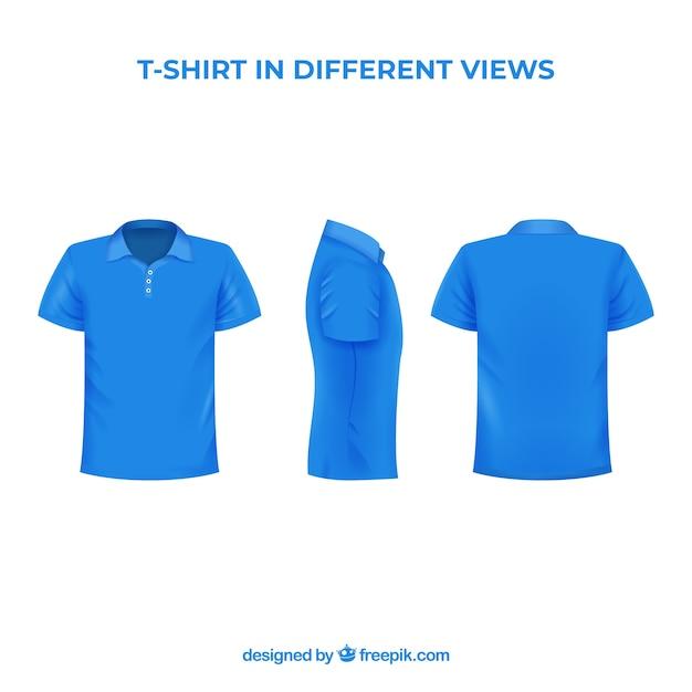 T-shirt da uomo in diversi punti di vista con uno stile realistico Vettore gratuito