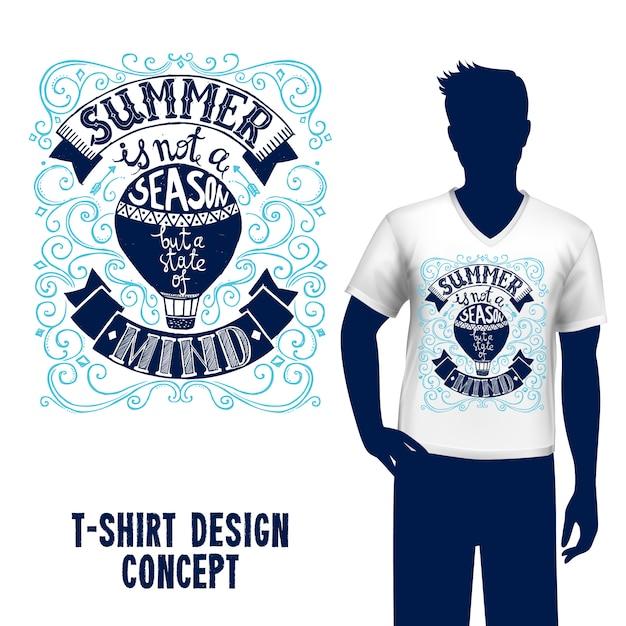 T-shirt design lettering Vettore gratuito