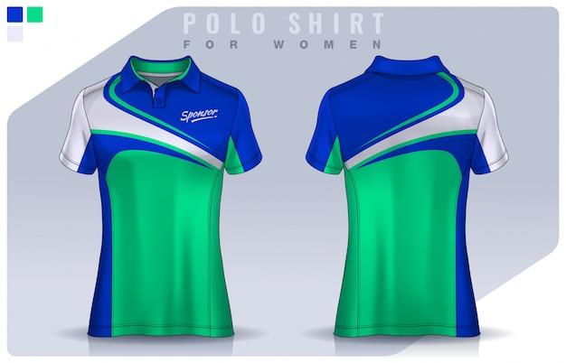 T-shirt design sportivo per donna, maglia da calcio per club di calcio. modello di polo uniforme. Vettore Premium