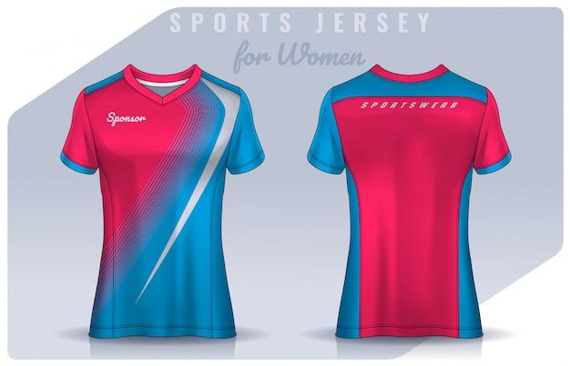 T-shirt design sportivo per donna, mockup di maglia da calcio per club di calcio. modello di polo uniforme. Vettore Premium