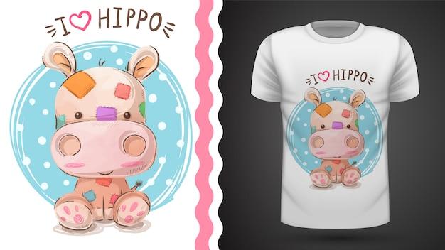 T-shirt ippopotamo Vettore Premium