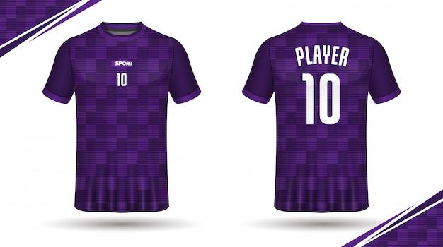 T-shirt modello sportivo da calcio in jersey Vettore Premium