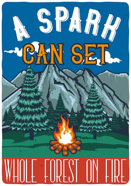 T-shirt o poster design con illustrazione della foresta e del fuoco. Vettore gratuito