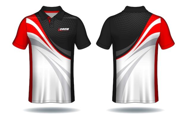 T-shirt polo design, modello jersey sportivo. Vettore Premium