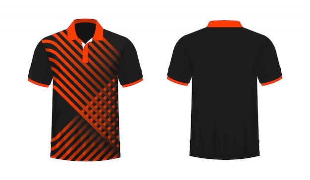 T-shirt polo modello arancione e nero per il design su sfondo bianco. illustrazione vettoriale eps 10. Vettore Premium