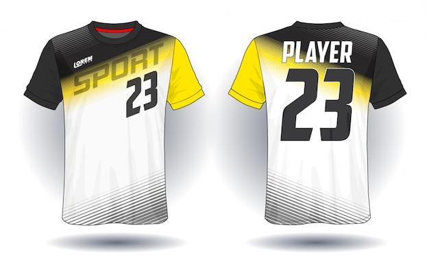 T-shirt sportiva in jersey di calcio. Vettore Premium