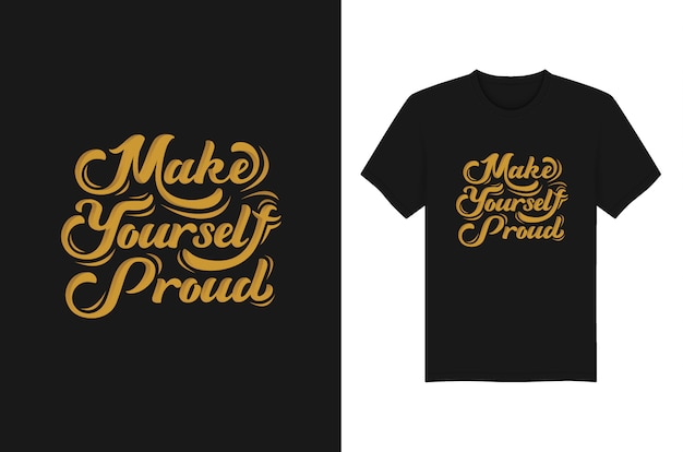 T-shirt tipografica con lettere orgogliose Vettore Premium