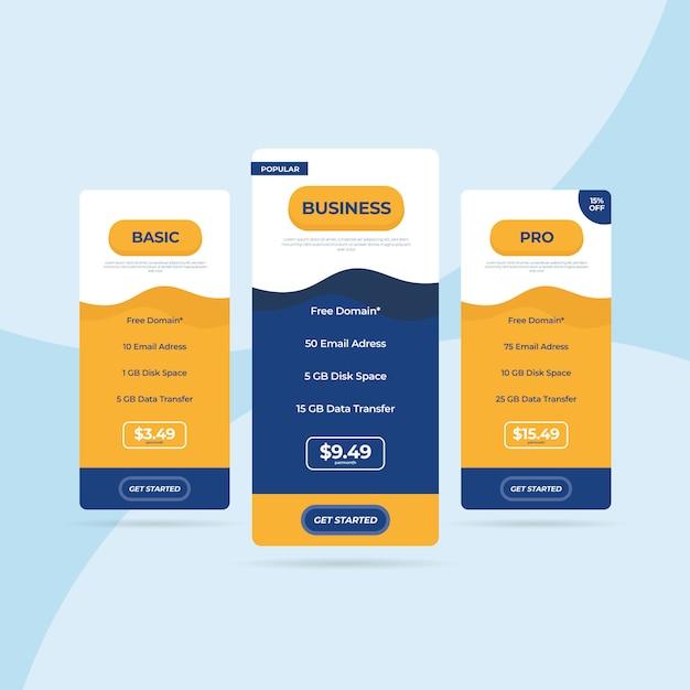 Tabella dei prezzi del sito web di listino prezzi flat Vettore Premium