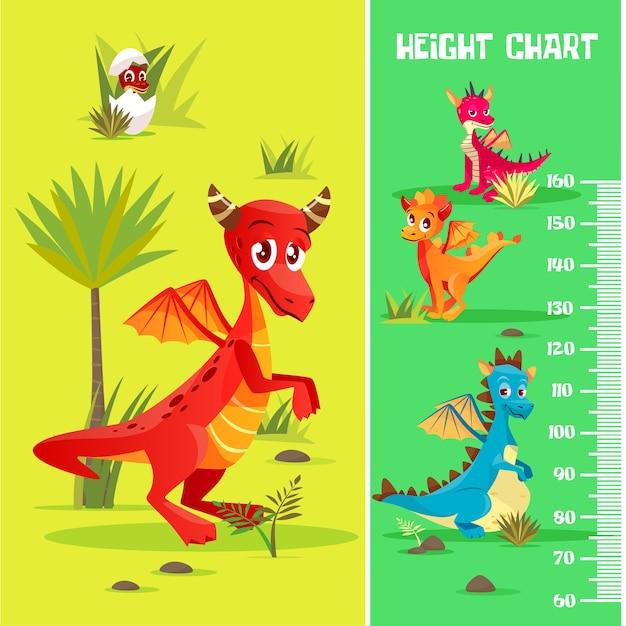 Tabella di altezza in creature preistoriche di dinosauri, stile cartoon. Vettore gratuito