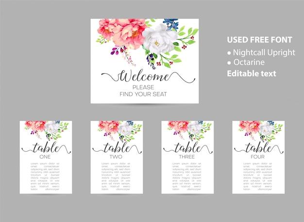 Tabella di posti a sedere di nozze in ordine alfabetico Vettore Premium