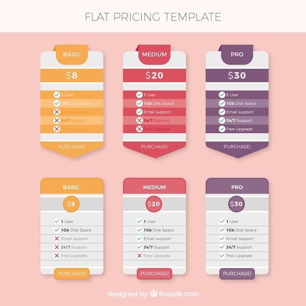 Tabelle dei prezzi con differenti disegni e colori Vettore gratuito