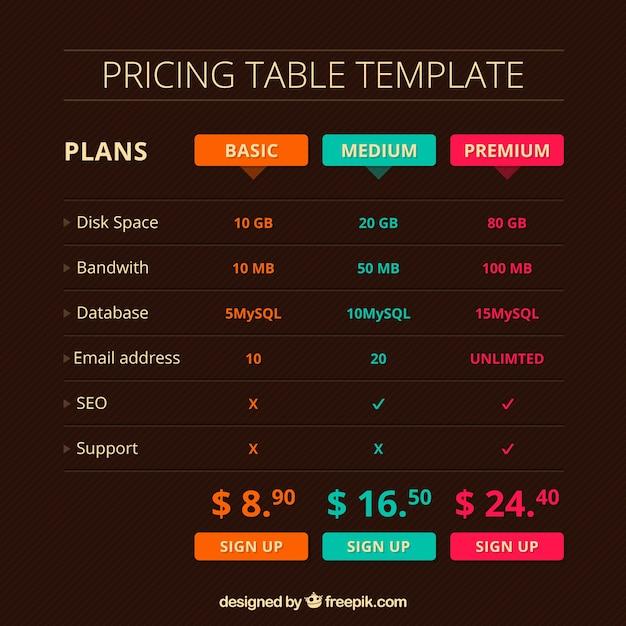 Tabelle dei prezzi web eleganti Vettore gratuito