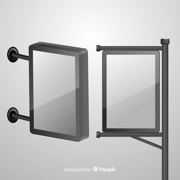 Tabellone per le affissioni realistico della scatola chiara Vettore gratuito