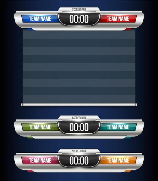 Tabellone segnapunti digitale trasmissione grafica dello sport. Vettore Premium