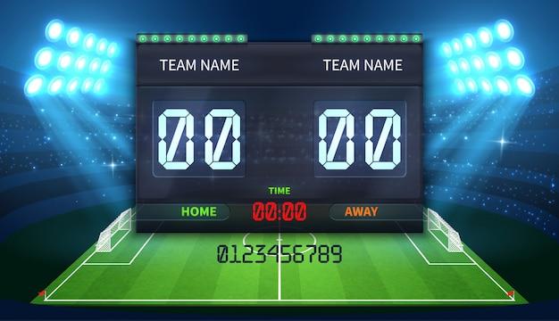 Tabellone segnapunti sportivo elettronico dello stadio con indicazione del tempo di calcio e partita di calcio Vettore Premium