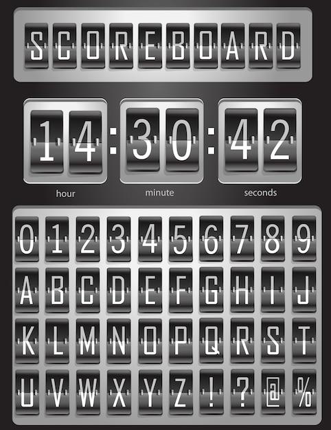 Tabellone segnapunti, tabellone sportivo con un set completo di alfabeto inglese e numeri da 1 a 9 nei colori bianco e nero. illustrazione Vettore Premium