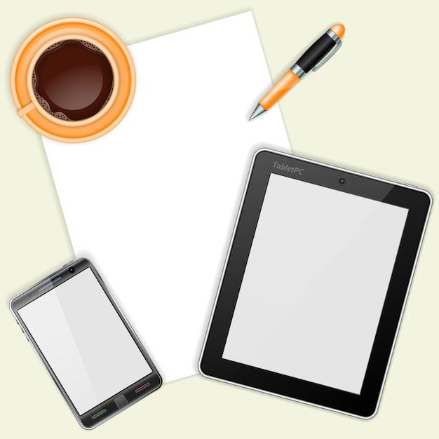 Tablet, con fogli bianchi, smartphone e tazza di caffè Vettore Premium