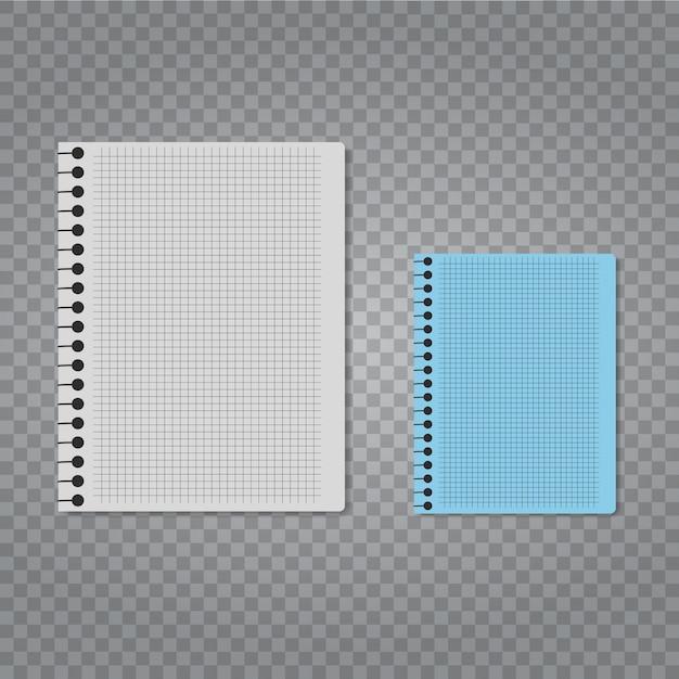 Taccuino di vettore realistico impostato su sfondo trasparente. Vettore Premium