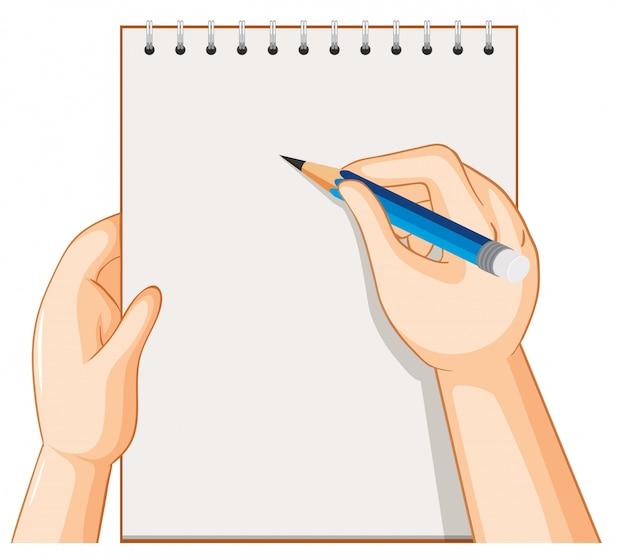 Taccuino e mano vuoti con la matita su fondo bianco Vettore gratuito