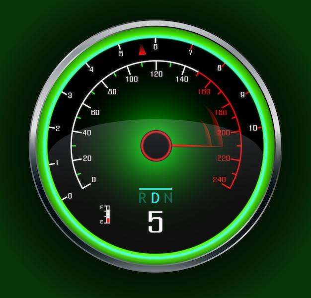 Tachimetro da auto da corsa su verde scuro Vettore Premium