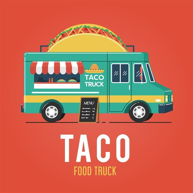 Taco food truck Vettore Premium