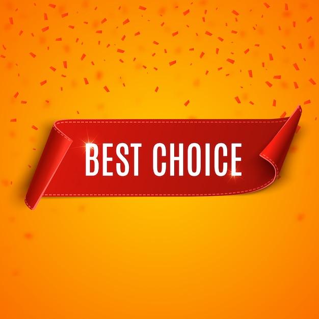 Tag di scelta migliore. nastro rosso vettoriale isolato Vettore Premium