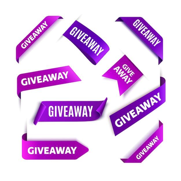 Tag o etichette omaggio per i post sui social media. nastri di concorso giveaway vettoriale. Vettore Premium