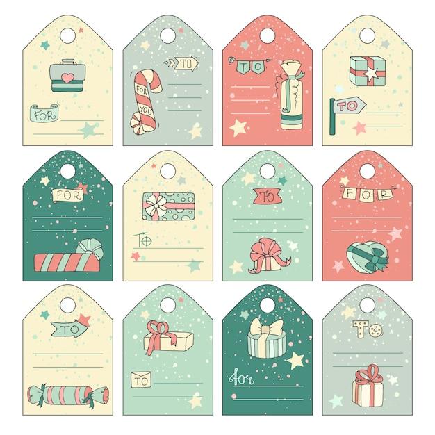 Tag regalo carino con scatole regalo doodle del fumetto Vettore Premium