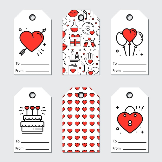 Tag regalo di san valentino Vettore Premium