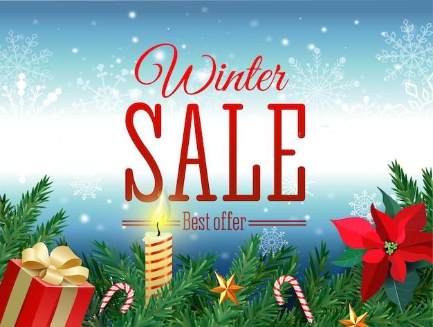 Tag saldi invernali. etichetta rossa di vendita che appende nel fondo bianco dei fiocchi della neve di inverno per la promozione al minuto stagionale. illustrazione vettoriale Vettore Premium