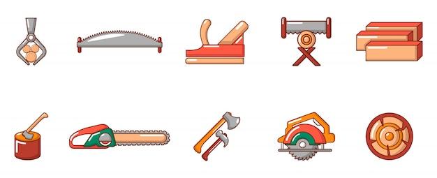 Tagli l'insieme dell'icona dello strumento di legno. l'insieme del fumetto delle icone di legno di vettore dello strumento del taglio ha messo isolato Vettore Premium