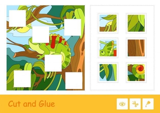 Taglia e incolla il puzzle che impara il gioco dei bambini con l'immagine variopinta del camaleonte sveglio che si siede su un albero in una foresta pluviale. attività educativa relativa agli animali per bambini. Vettore Premium