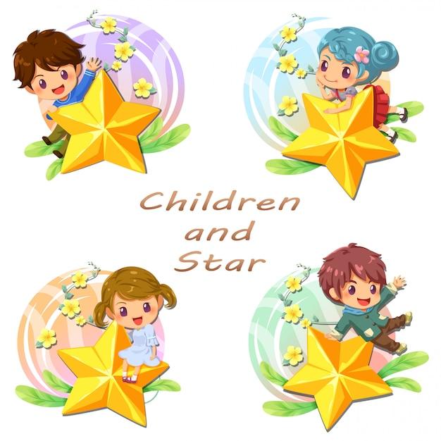 Taglia i bambini e l'icona stella, adesivo Vettore Premium