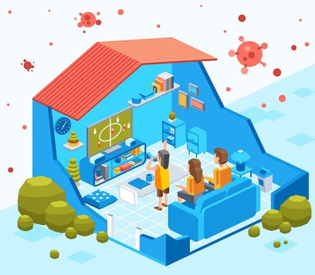 Tagliare l'illustrazione isometrica della famiglia casalinga per evitare il contagio del virus, stare al sicuro a casa Vettore Premium