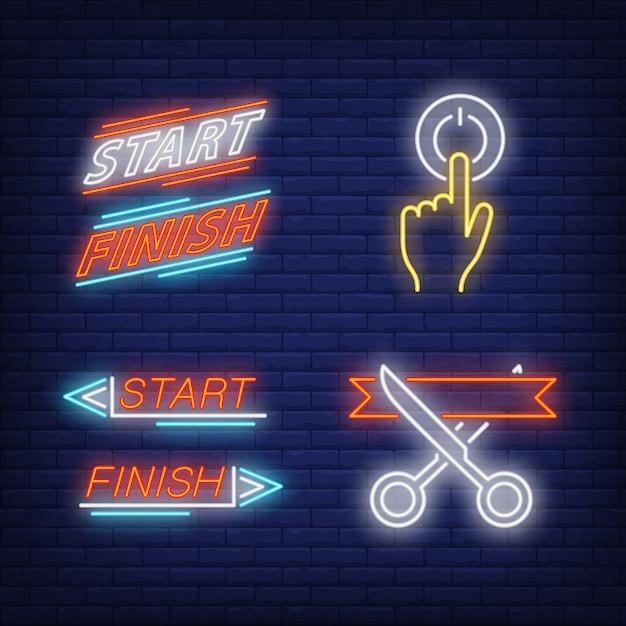 Taglio del nastro, accensione, inizio e fine set di insegne al neon Vettore gratuito