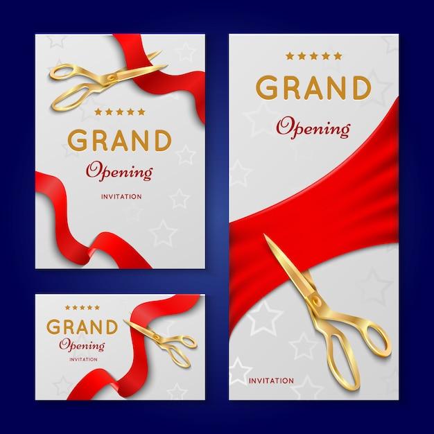 Taglio del nastro con forbici grandi carte di invito cerimonia di apertura. Vettore Premium