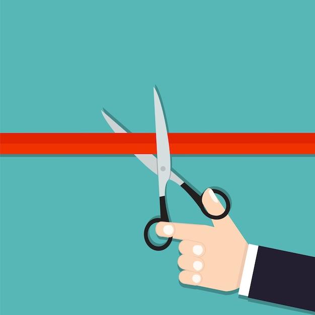 Taglio del nastro. grande apertura. prossimamente. le forbici tagliano il nastro rosso Vettore Premium