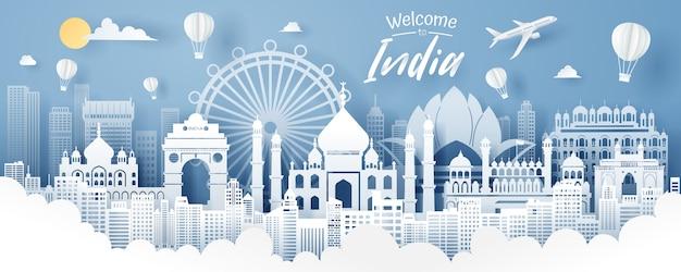 Taglio della carta del concetto del punto di riferimento, di viaggio e di turismo dell'india. Vettore Premium