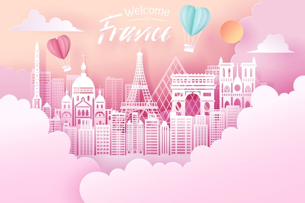 Taglio della carta del concetto del punto di riferimento, di viaggio e di turismo della francia. Vettore Premium