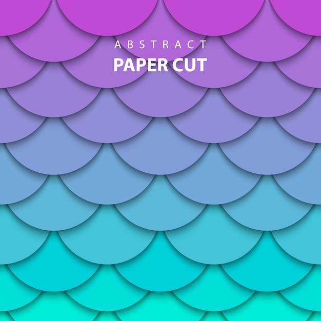 Taglio di carta al neon lilla e turchese Vettore Premium