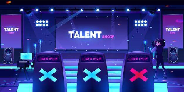 Talent show stage con sedie della giuria, scena vuota Vettore gratuito