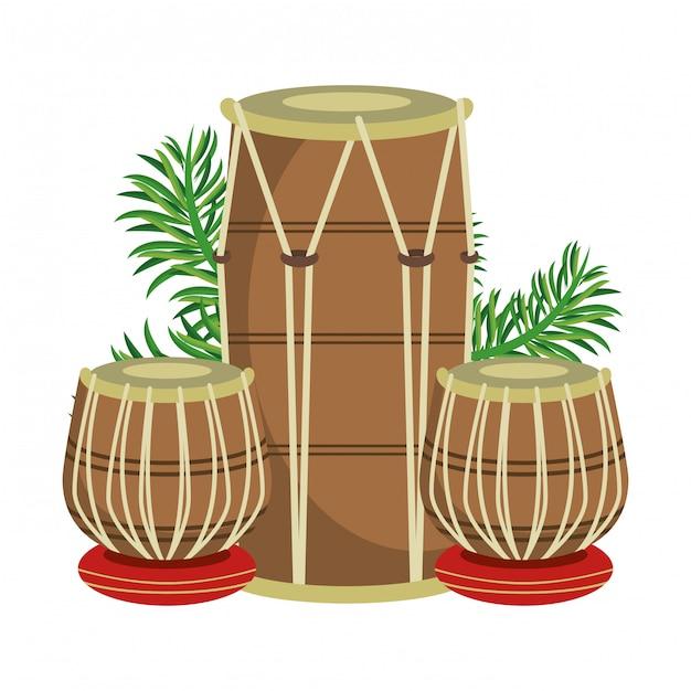 Tamburi indiani tabla con foglie Vettore Premium