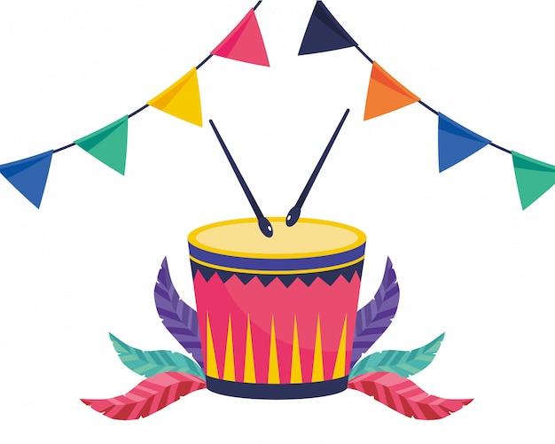 Tamburo strumenti musicali illustrazione vettoriale Vettore Premium