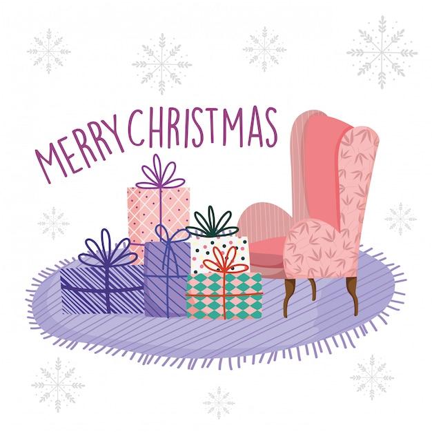 Tappeto del sofà del salone di celebrazione di buon natale con i regali Vettore Premium