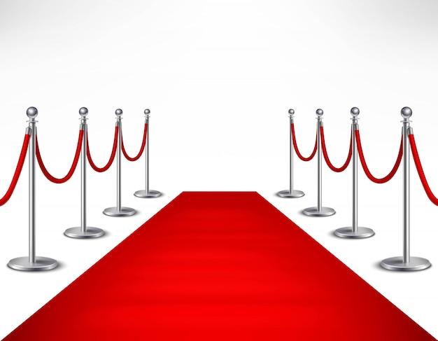 Tappeto rosso di evento e barriere argentee sull'illustrazione realistica di vettore del fondo bianco Vettore gratuito