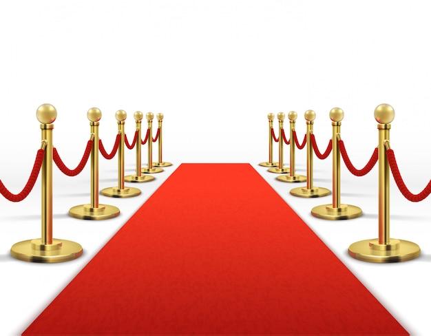 Tappeto rosso per celebrità con barriera di corda d'oro. concetto di vettore di successo, prestigio e hollywood evento. illustrazione di colore rosso tappeto per l'ingresso vip Vettore Premium