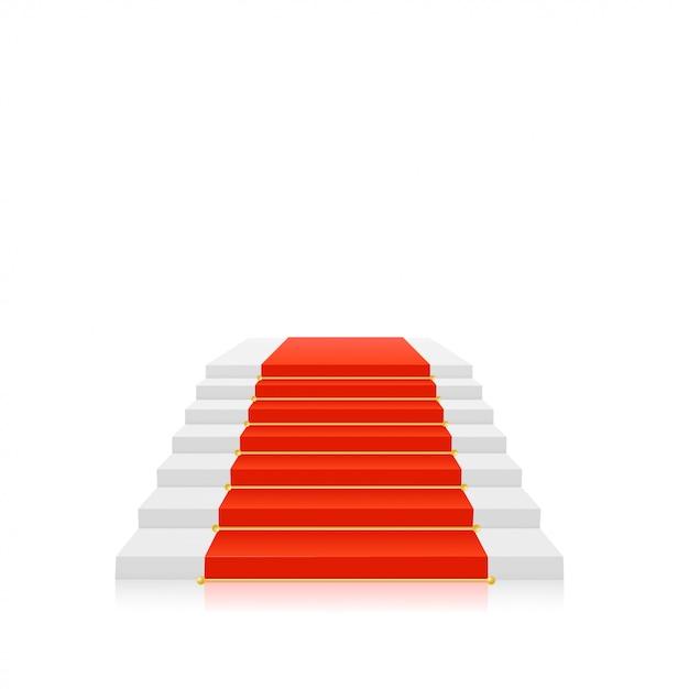 Tappeto rosso su scale bianche con porta oro. illustrazione vettoriale Vettore Premium